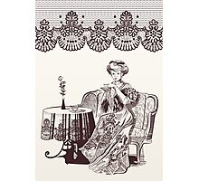 lady drinks tea Photographic Print