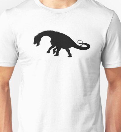 Nigersaurus Dinosaur Silhouette (Black) Unisex T-Shirt