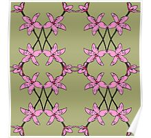 Pink Enamel Orchid Mirror Drawn Design, native Australian flora, orchid pattern. Poster