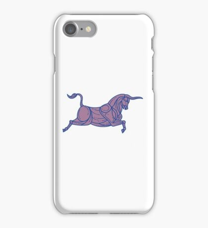 Texas Longhorn Bull Charging Mono Line iPhone Case/Skin