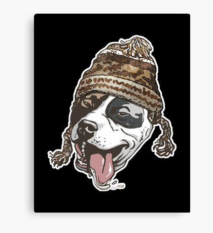 Chillin  Pit Bull Wearing Winter Beanie copy Canvas Print