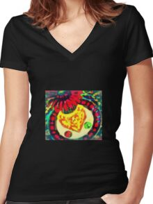 RED GERBER ON CUBE Women's Fitted V-Neck T-Shirt