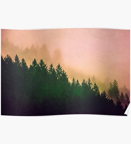 Fog Forest - Cascadia Green Trees and Sunset Poster