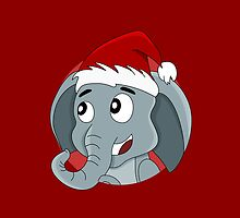 Cute Christmas elephant cartoon by Radka Kavalcova
