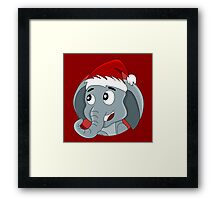 Cute Christmas elephant cartoon Framed Print