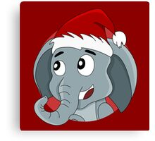 Cute Christmas elephant cartoon Canvas Print