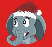 Cute Christmas elephant cartoon One Piece - Short Sleeve