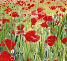 Poppies - Poppy Fields Painting used for Remembrance Day Song  Sticker