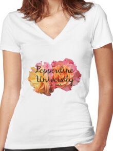 Pepperdine University Rose Malibu Women's Fitted V-Neck T-Shirt