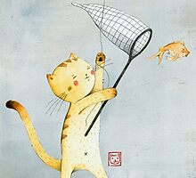 Cat With Balloon by Judith Loske