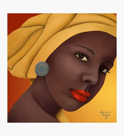Woman with round earring Photographic Print