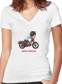 GONE POSTAL POSTIE BIKE MOTORCYCLE Women's Fitted V-Neck T-Shirt