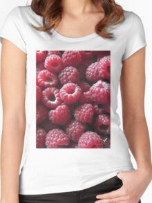 Raspberries close up Women's Fitted Scoop T-Shirt