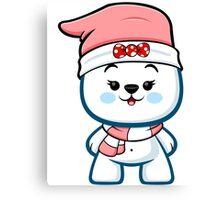 Polar Bear Girl - Christmas Kawaii Canvas Print