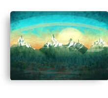 Mountains over the sky - minimalist digital painting Canvas Print