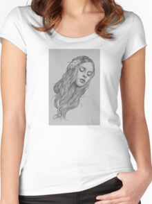 Patience digital illustration of a young girl Women's Fitted Scoop T-Shirt