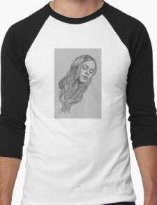 Patience digital illustration of a young girl Men's Baseball ¾ T-Shirt