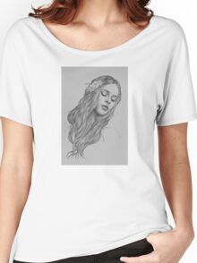 Patience digital illustration of a young girl Women's Relaxed Fit T-Shirt