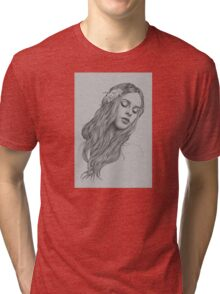 Patience digital illustration of a young girl Tri-blend T-Shirt