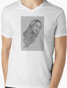Patience digital illustration of a young girl Mens V-Neck T-Shirt