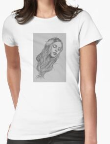 Patience digital illustration of a young girl Womens Fitted T-Shirt