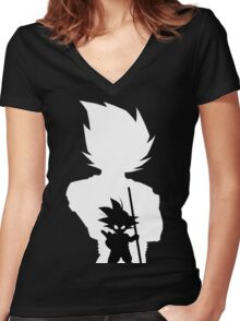 Goku and Kid Goku Women's Fitted V-Neck T-Shirt