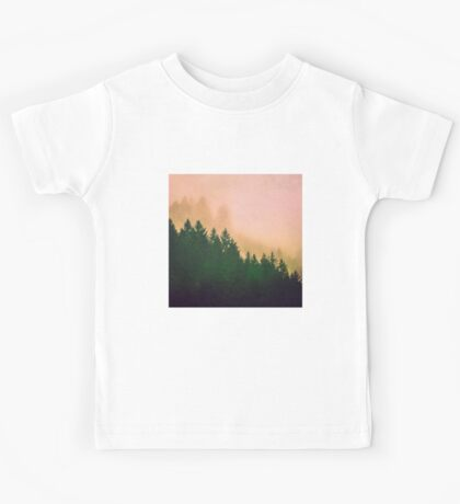 Fog Forest - Cascadia Green Trees and Sunset Kids Tee