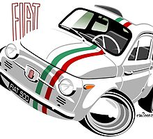 Classic Fiat 500 Nuova caricature white by car2oonz