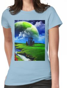 tardis in green meadow Womens Fitted T-Shirt