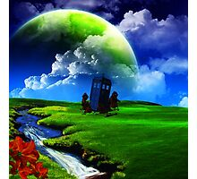 tardis in green meadow Photographic Print