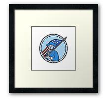 American Revolutionary Soldier Flag Circle Mono Line Framed Print