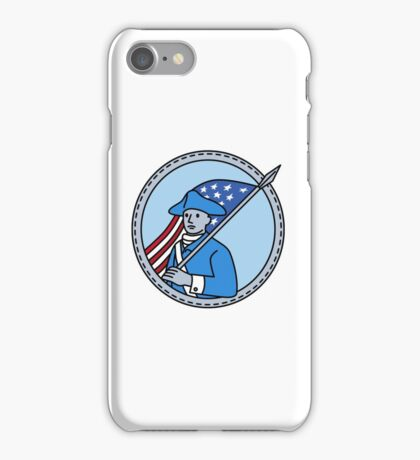 American Revolutionary Soldier Flag Circle Mono Line iPhone Case/Skin