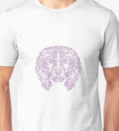 English Cocker Spaniel Dog Head Mono Line Unisex T-Shirt