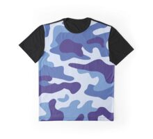 Blue camouflage pattern Graphic T-Shirt