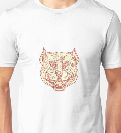 Pitbull Dog Mongrel Head Mono Line Unisex T-Shirt