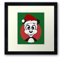 Cute Christmas panda bear cartoon Framed Print