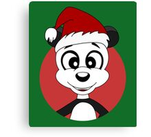 Cute Christmas panda bear cartoon Canvas Print
