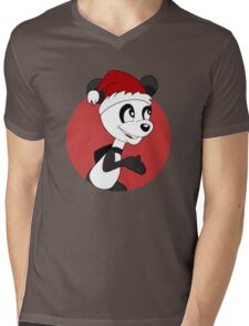 Cute Christmas panda bear cartoon Mens V-Neck T-Shirt