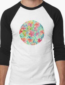 Tropical Floral Watercolor Painting Men's Baseball ¾ T-Shirt