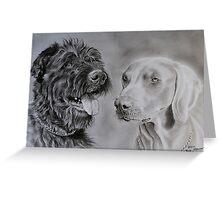 """Hyeti et Balkan"" - Dog Portraits Greeting Card"