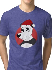 Cute Christmas panda bear cartoon Tri-blend T-Shirt