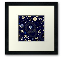 Zodiac sky. Abstract seamless vector pattern with constellations, crescent moon, circles and zodiac signs. Framed Print