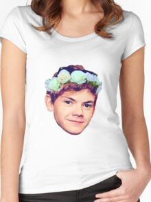Thomas Brodie-Sangster Flower Crown Women's Fitted Scoop T-Shirt