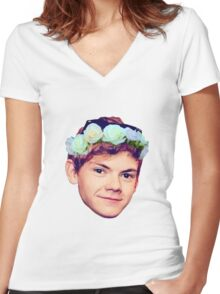 Thomas Brodie-Sangster Flower Crown Women's Fitted V-Neck T-Shirt