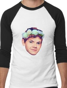 Thomas Brodie-Sangster Flower Crown Men's Baseball ¾ T-Shirt