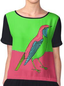 Neon Bird Chiffon Top