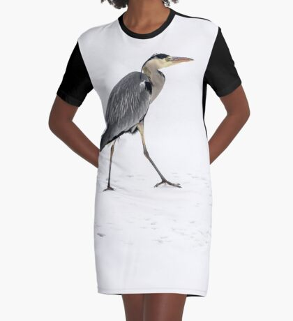 Great blue heron in snow and ice Graphic T-Shirt Dress