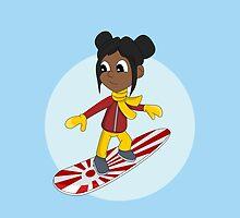 Snowboarding girl cartoon by Radka Kavalcova