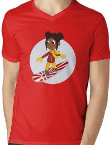 Snowboarding girl cartoon Mens V-Neck T-Shirt