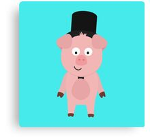 Groom Pig with Hat and bow tie Canvas Print